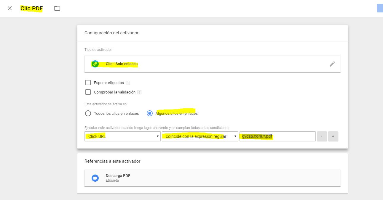 Configuracion de activacion de evento tag manager