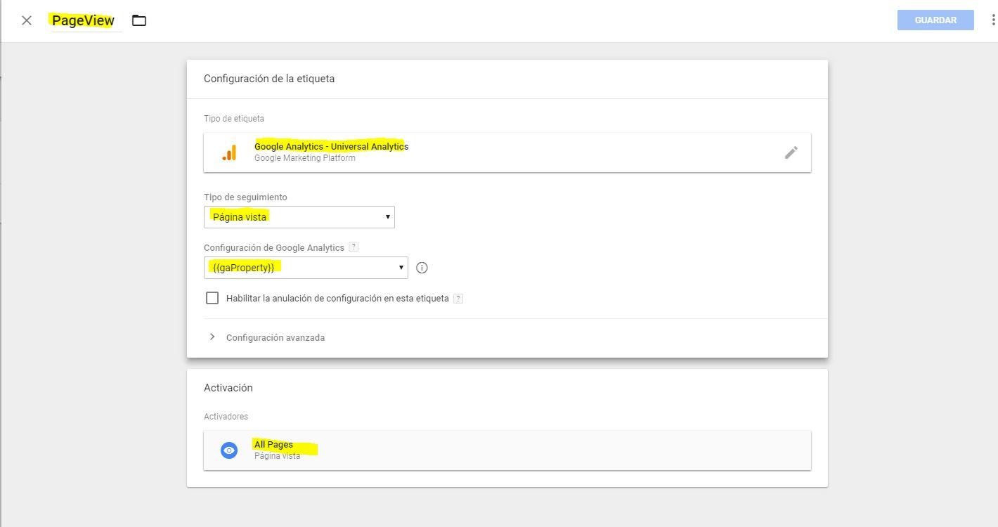 Configuracion de etiqueta en Tag Manager