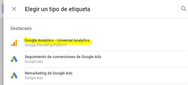 Tipo de etiqueta Google Analytic - Universal Analytics