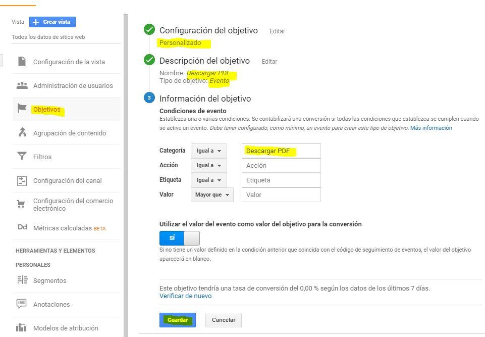 Crear objetivo en google analytics