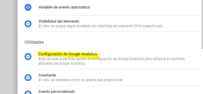 Variable configuración de google analytics