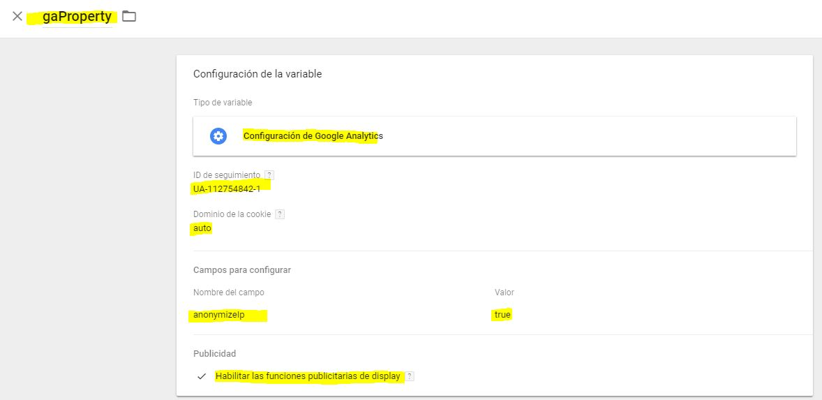 Variable creada de propiedad de google analytics